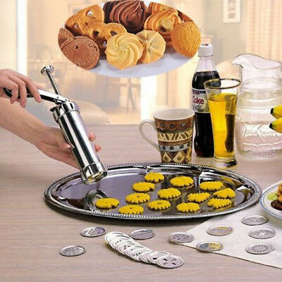 25PC Biscuit Maker Shaper Cake Cutter Decorating Set Cookie Press Pump Machine
