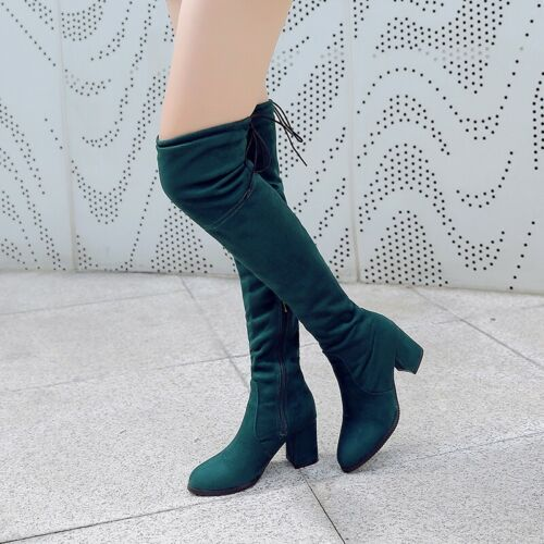 Details about  /Women Round Toe Chunky Heel Over Knee Boots Thigh High Zip Up Cowboy Motor Shoes