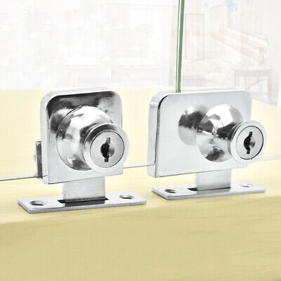 Metal Single Double Swinging Glass Showcases Door Cabinet Lock+2 Secure Keys