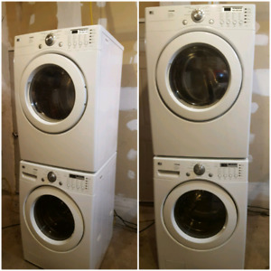 White lg tromm stackable washer and dryer