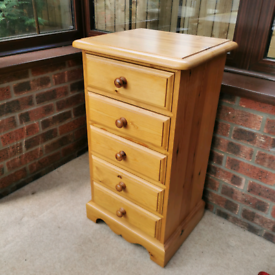 Solid Pine Tall Boy Chest of Drawers