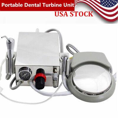 PRO Portable Dental Turbine Unit Work W/ Air Compressor 2 Hole Triplex Syringe