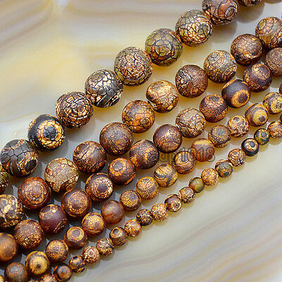 Frosted Matte Tibetan Mystical Old Agate Eye Round Beads6 8 10 12 14Mm 15Inches