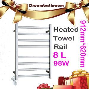 Square electric heated stainless steel towel rack warmer rail bar bath chrome