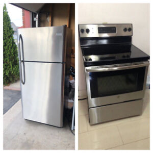 Stainless Steel Fully Functional Fridge And Stove Set For Sale