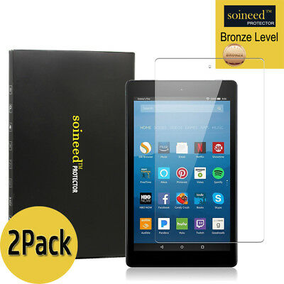 [2-Pack] SOINEED Amazon Kindle Fire HD 8 (7th Gen) 2017 Tempered Glass Protector