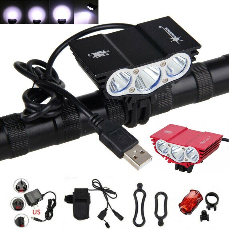 Super Bright 3X T6 LED Front Bicycle Light Bike Rear Lamp Taillight Headlanp