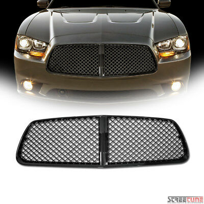 Black Honeycomb Mesh Front Hood Bumper Grill Grille Abs For 11 14 Dodge Charger