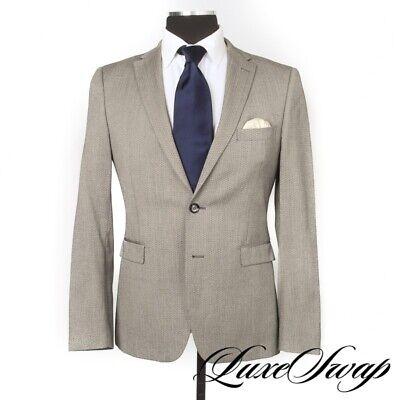 Shadow Tagliatore Made in Italy Smoke Grey Mosaic Weave Wool Blend Jacket 50 NR
