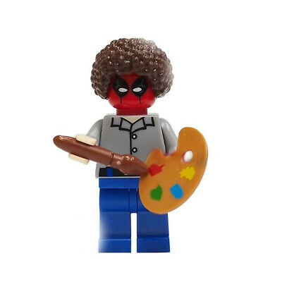 Bob Ross Deadpool Painter Marvel Superhero Mini Action Figure Toy X-Man Lego Moc