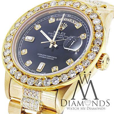 Diamond Presidential Rolex 18038 Quickset Watch Black Diamond Dial, Bezel, 18k