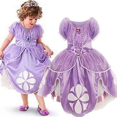 Hot Sofia die Erste Mädchen Prinzessin Kostüm Kinder Tüll Kleid Karneval Cosplay