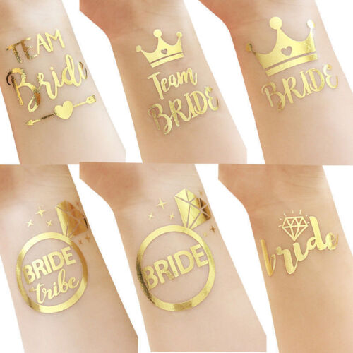 12Pcs Bride Tattoos with Diamond Ring Hen Party Bachelorette Party Stickers