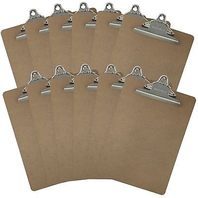 Letter Size Clipboards 9 X 12.5 Standard Clip Hardboard Pack Of 12
