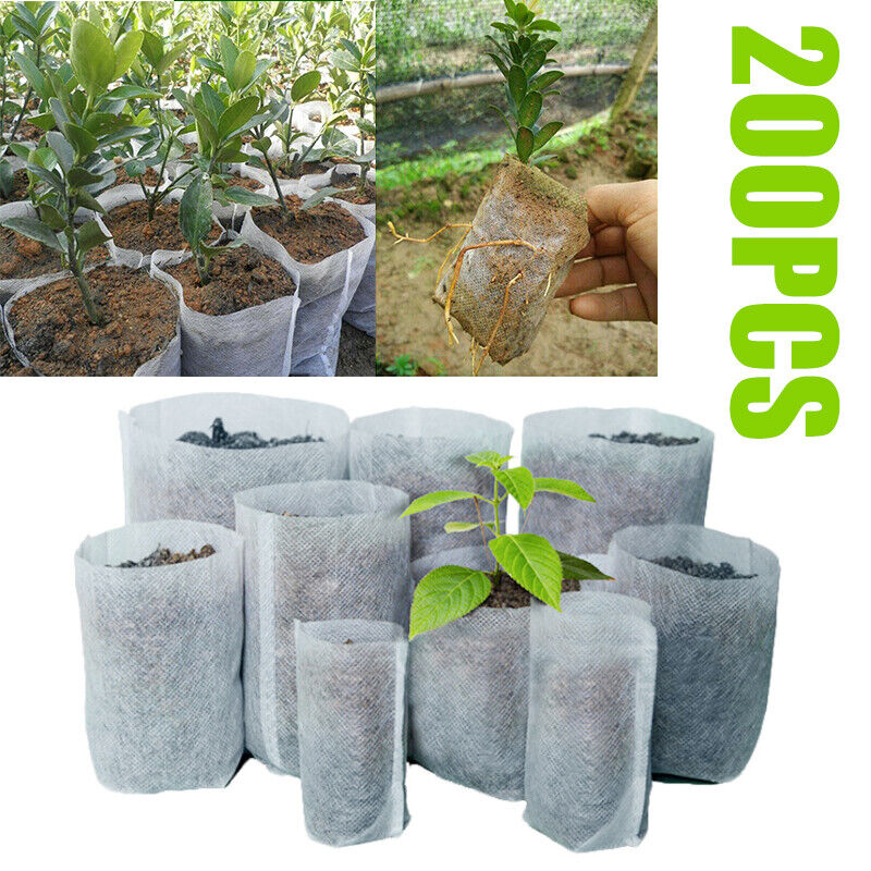 200PCS Biodegradable Non-Woven Nursery Bags Plant Grow Bags