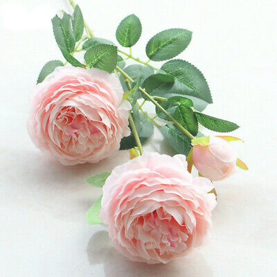 White Fake Flowers (Roses Artificial Peony Fake Silk Flowers White Bridal Wedding Bouquet Home)
