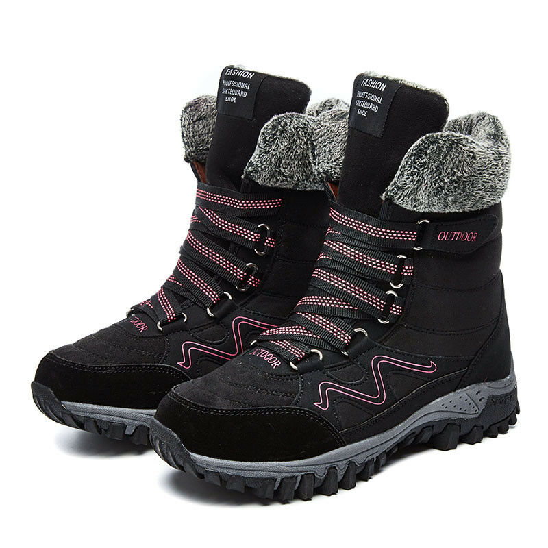 Women's Shoes Boots Flats Lace Up Platform Fur Lined Wateproof Winter Shoes