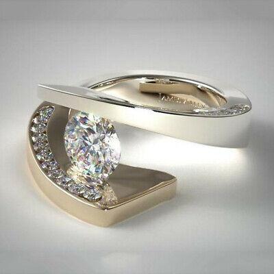Fashion White Topaz Tension Set Two Tone Gold Plated Ring Women Gift Size (Gold Plated Two Tone Ring)