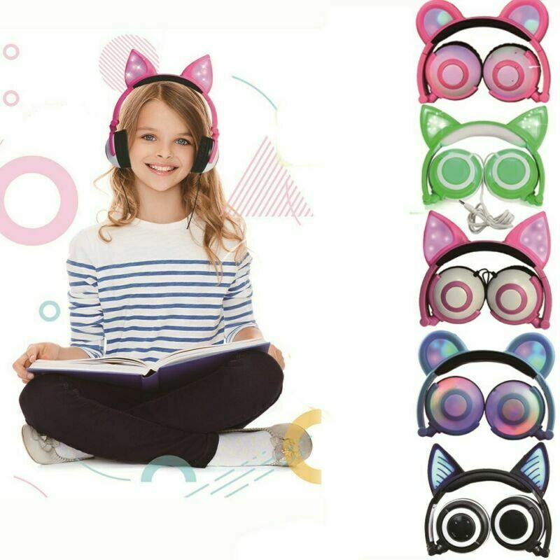 kids cat ear bluetooth headphones audio