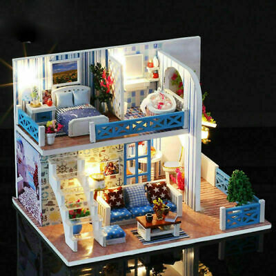 Romantic LED Light Miniature Doll House Dollhouse DIY Kit Birthday Kid Gift Toy for sale  Chino