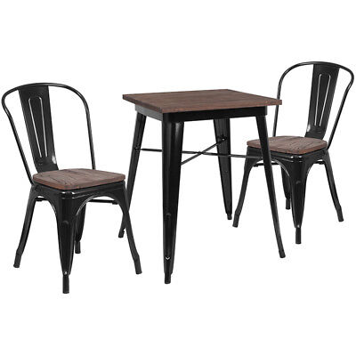 23.5 Square Black Metal Restaurant Table Set With Walnut Wood Top And 2 Chairs