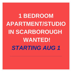 1 Bdrm Apartment In Scarborough Needed For Rent August 1