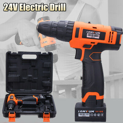 Led Light 24v Electric Hammer Drill Cordless 22n.m Screwdriver 2000mah Battery