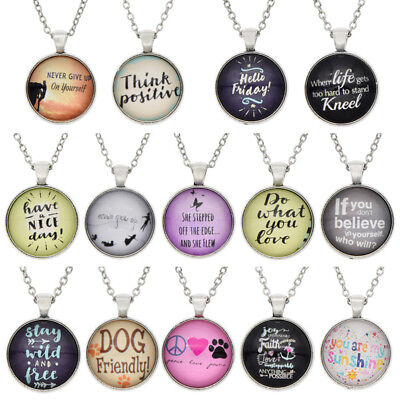 Women Girl Inspiration Words Cabochon Necklace Charm Chain Adjustable Jewelry