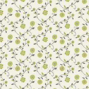 Dolls house miniature mixed sage green flower wallpaper ebay for Carta da parati per casa bambole