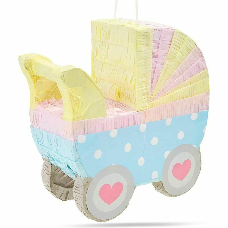 Small Baby Carriage Pinata for Baby Shower Party (11.5 x 12.25 x 5 Inches)