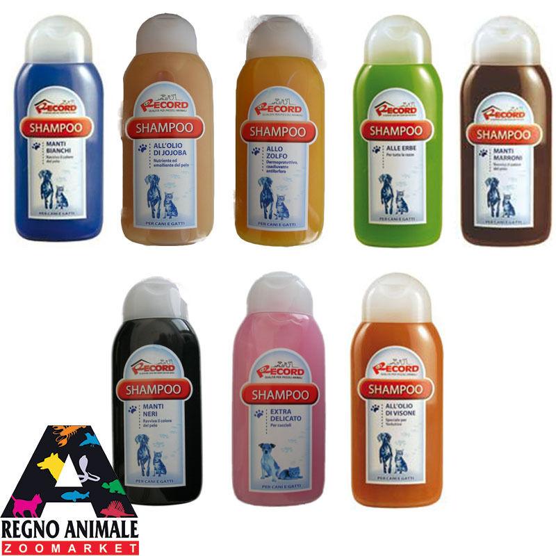 SHAMPOO cane gatto 250ml RECORD tutte le razze shampoo pelo lungo manti bianchi