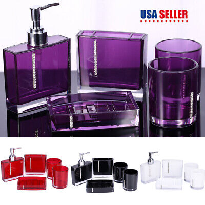 5Pcs Bathroom Accessories Set Cup Toothbrush Holder Soap Dish Dispenser (Accessories Cup)