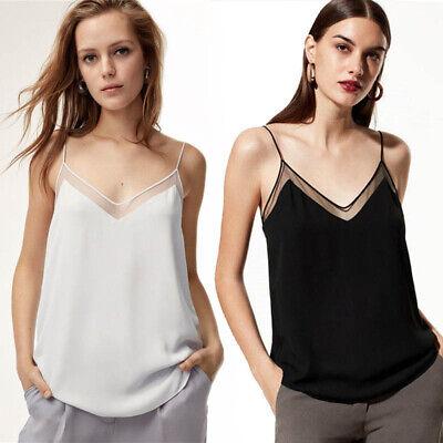Chiffon V-neck Tunic Top (Sexy Women V Neck Chiffon Strappy Vest Tops Tank Lady Summer Loose Tunic T Shirt)