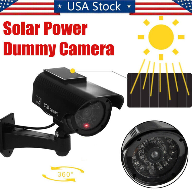 Solar Power Bullet Dummy Camera Fake Security Surveillance CCTV w/Led In/Outdoor