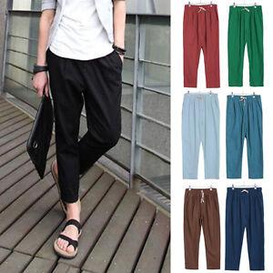 Hombre-Informal-Holgado-elastico-cintura-Solid-Pantalones-de-Lino-Playa