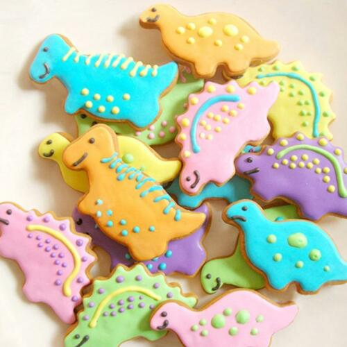 4PCS Dinosaur Shape Cookie Cutter Set T-Rex DIY Biscuit Stamp Baking Supplies CF