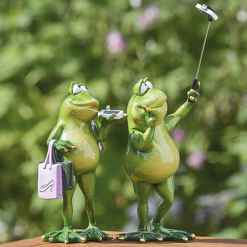 Frosch mit Handy witzig 2er-Set (1006049) Gartenfigur Dekofigur