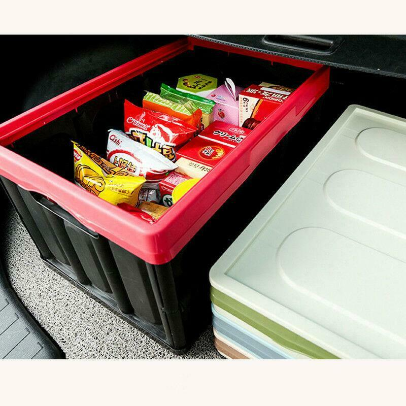 55L Collapsible Plastic Storage Box Durable Stackable Folding Utility Crate