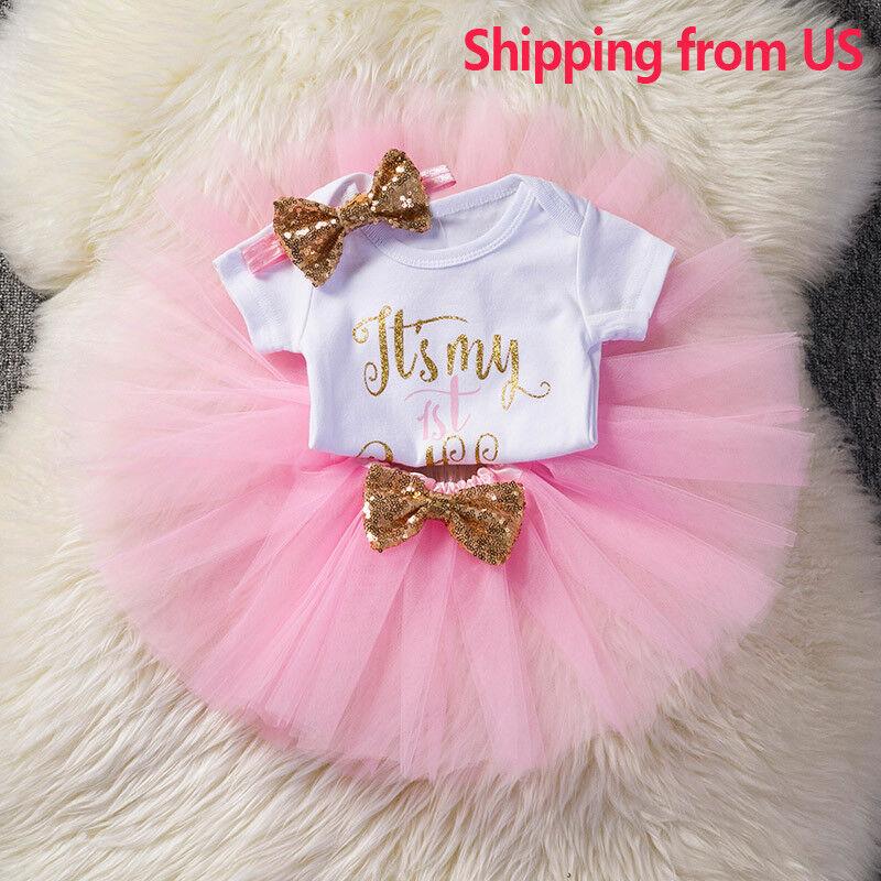 Baby Girls 1st First Birthday Dress Romper Tutu Skirt Headba