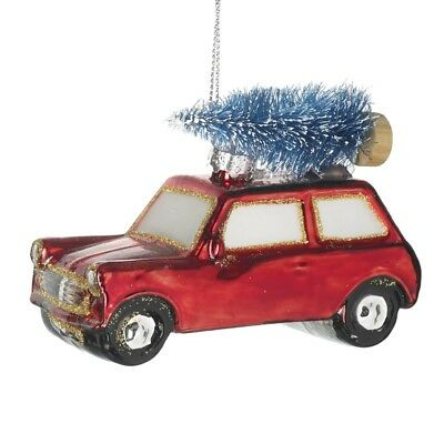 Classic Red Car & Blue Tree Glass Bauble Decoration Driving Home For Christmas