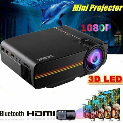 7000 Lumen Full HD 1080P LED 3D LCD VGA HDMI TV Home Theater Projector Cinema US