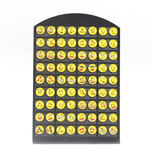 36 Pairs Cute Yellow Smiley Face Earrings Set Round Emoticons Emoji Ear Studs GB