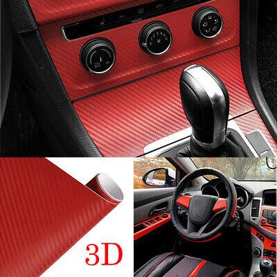 Car Parts - 3D Car Tablet Red Interior Panel Carbon Fiber Vinyl Wrap Sticker Replace Parts