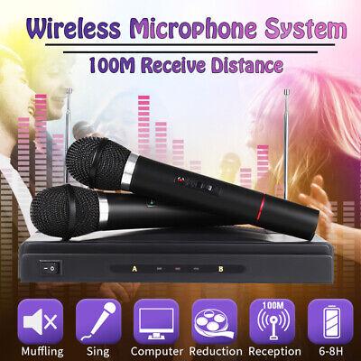 Wireless Karaoke Home KTV Microphone System 2X Handheld Mic + Cordless  USA