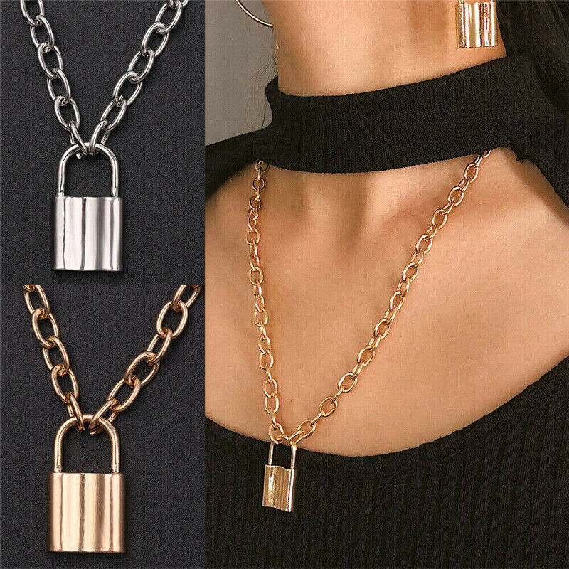 Alloy Lock Pendant Necklace Charms Padlock Long Chain Choker Jewelry Fashion 1