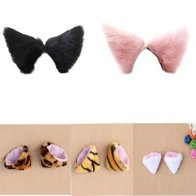Cute Animal Cat Ears Fluffy Hair Clip Long Faux Fur Costume Cosplay Hair Hairpin