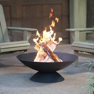 Outdoor 30 Inch Cast Iron Fire Pit Wood Burning Black Finish  Basin With Cover