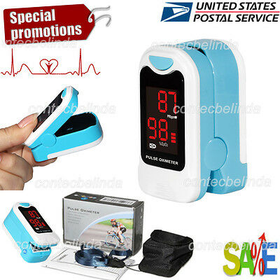 Finger Pulse Oximeter Blood Oxygen Sensor O2 Spo2 Monitor Heart Rate Led Usa Fda