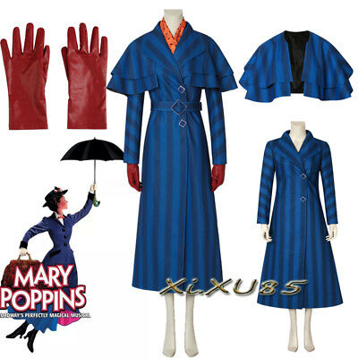 2018 Mary Poppins Return Mary 2 Cosplay Costume Halloween Fancy Dress Customize - Mary Poppins Custome