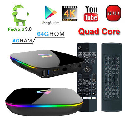 Android 9.0 QBOX+ Q+ HDR 4K Quad Core WiFi 4GB DDR3/64GB TV Box+Keypad Remote